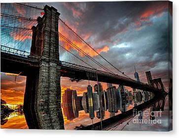 Brooklyn Bridge Reflection Canvas Print