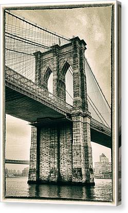 Brooklyn Bridge Sepia Canvas Print by Jessica Jenney