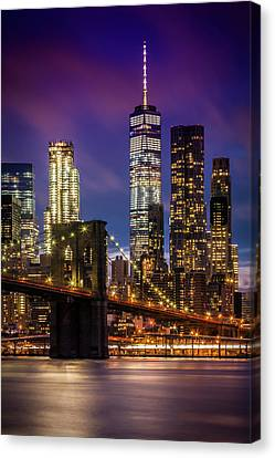 Brooklyn Bridge Sunset Above New York City Canvas Print