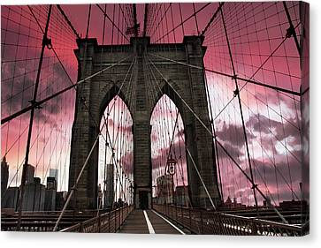 Walkway Canvas Print - Brooklyn Bridge Sunset Silhouette by Jessica Jenney