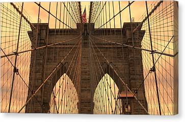 Brooklyn Bridge Sunset Canvas Print by Stephen Stookey
