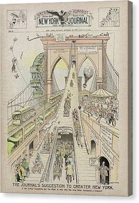 Canvas Print featuring the photograph Brooklyn Bridge Trolley Right Of Way Controversy 1897 by Daniel Hagerman