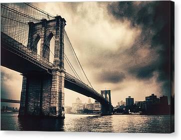 Brooklyn Bridge Vintage Canvas Print by Jessica Jenney
