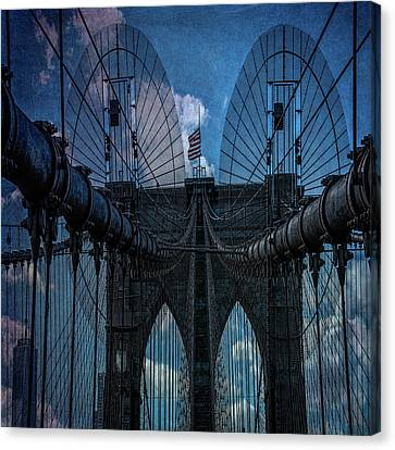 Canvas Print featuring the photograph Brooklyn Bridge Webs by Chris Lord