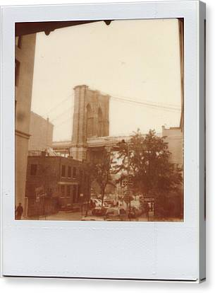 Brooklyn Bridge With Ip Px100 Film Canvas Print by Julie VanDore