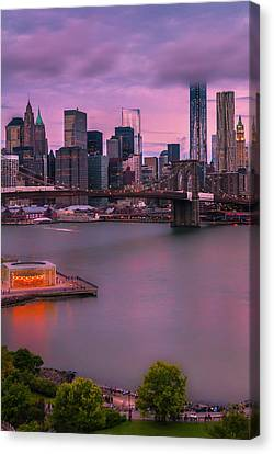 Canvas Print featuring the photograph Brooklyn Bridge World Trade Center In New York City by Ranjay Mitra