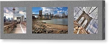 Brooklyn Bridge...triptych Canvas Print by Arkadiy Bogatyryov