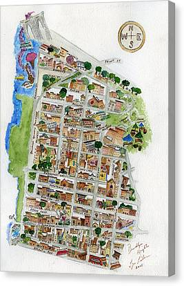 Brooklyn Heights Map Canvas Print by AFineLyne