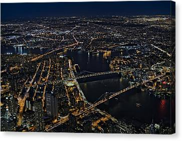 Brooklyn Manhattan And Williamsburg Bridges Aerial View Canvas Print by Susan Candelario