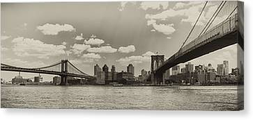 Brooklyn New York From Manhattan In Sepia Canvas Print by Bill Cannon