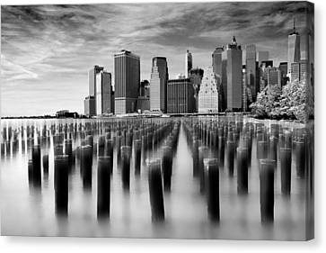 Brooklyn Park Pilings Canvas Print by Jessica Jenney