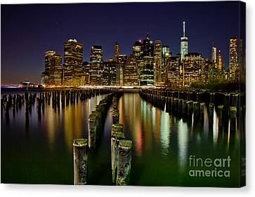 Brooklyn Pier At Night Canvas Print by Az Jackson