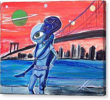 Canvas Print featuring the painting Brooklyn Play Date by Similar Alien