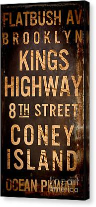 Coney Island Canvas Print - Brooklyn Street Sign by Mindy Sommers