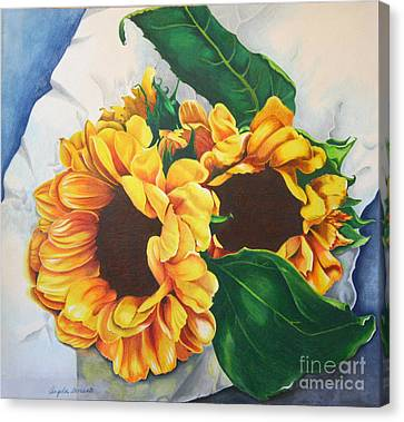 Canvas Print featuring the painting Brooklyn Sun by Angela Armano