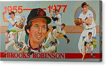 Canvas Print featuring the painting Brooks Robinson by Cliff Spohn