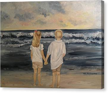Brother And Sister Canvas Print by Julie Brugh Riffey