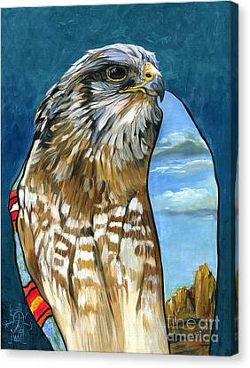 Brother Hawk Canvas Print by J W Baker