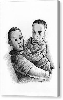 Biro Art Canvas Print - Brothers by Anthony Mwangi