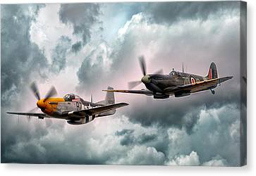 Fighter Canvas Print - Brothers In Arms by Peter Chilelli