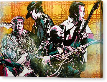 Brothers In Blues Canvas Print by Bobby Zeik