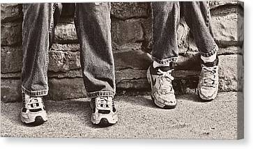 Tennis Shoe Canvas Print - Brothers by Tom Mc Nemar
