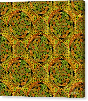 Brown And Green Circles Canvas Print by Gaspar Avila
