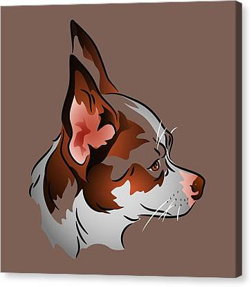 Brown And White Chihuahua In Profile Canvas Print by MM Anderson
