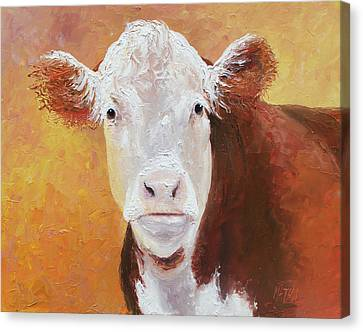 Brown And White Hereford Cow Painting Canvas Print