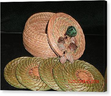 Brown Basket With Coasters Canvas Print