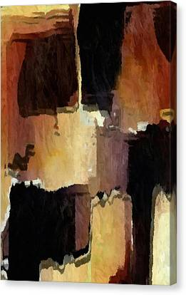 Brown Black Block Abstract Canvas Print