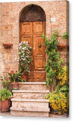 Brown Door Of Tuscany Canvas Print by David Letts