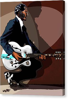 Brown Eyed Handsome Man-chuck Berry Canvas Print by David Fossaceca