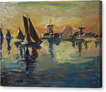 Brown Fleet On The Zaan Canvas Print by Nop Briex