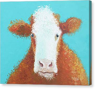 Brown Hereford On Turquoise Canvas Print