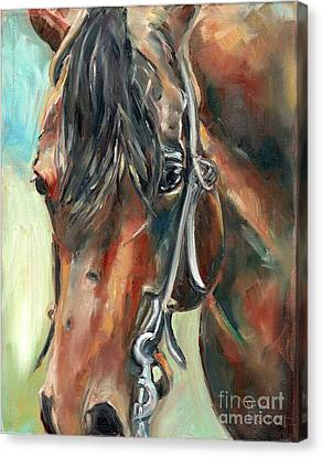 Bay Horse Canvas Print - Brown Horse Head by Maria's Watercolor