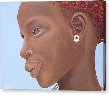 Youthful Canvas Print - Brown Introspection by Kaaria Mucherera