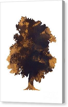 Brown Snake Canvas Print - Brown Oak Minimalist Painting by Joanna Szmerdt