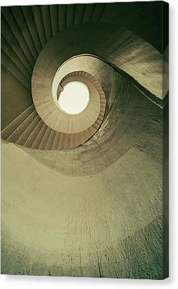 Canvas Print featuring the photograph Brown Spiral Stairs by Jaroslaw Blaminsky