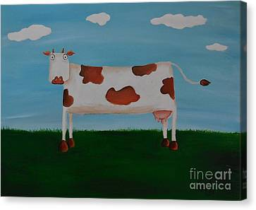 Brown Spotted Cow Canvas Print