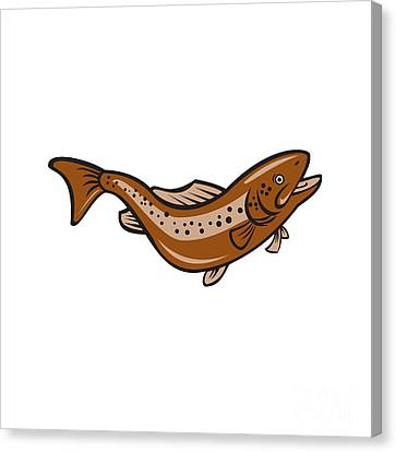 Brown Spotted Trout Jumping Cartoon Canvas Print by Aloysius Patrimonio
