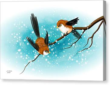Brown Swallows In Winter Canvas Print