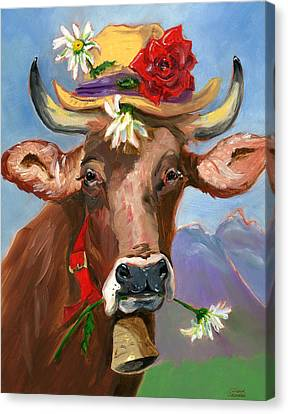 Canvas Print featuring the painting Brown Swiss In Summer Hat by Susan Thomas