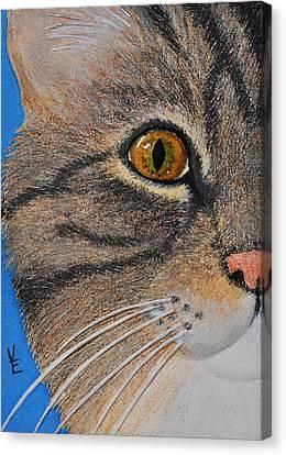 Brown Tabby Cat Sculpture Canvas Print by Valerie  Evanson