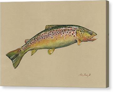 Brown Trout Jumping Canvas Print by Juan Bosco