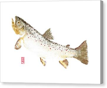 Brown Trout Rise #bt0003 Canvas Print by Kirby Wilson