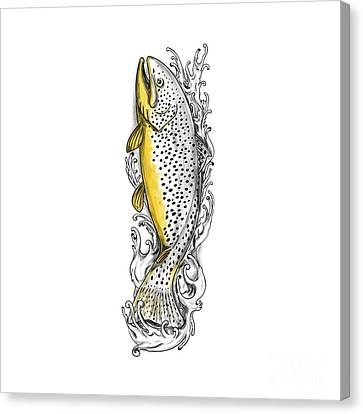 Brown Trout Swimming Up Tattoo Canvas Print