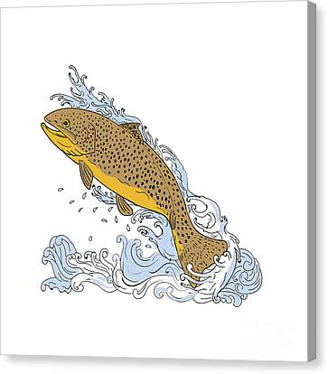 Brown Trout Swimming Up Turbulent Water Drawing Canvas Print by Aloysius Patrimonio