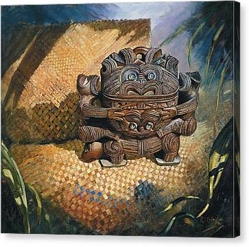 brown Wakahuia Canvas Print by Peter Jean Caley