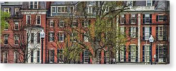 Canvas Print featuring the photograph Brownstone Panoramic - Beacon Street Boston by Joann Vitali